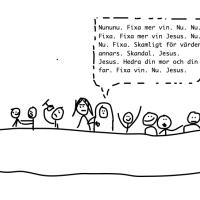 Jesus halvhjärtade (?) vatten till vin-mirakel